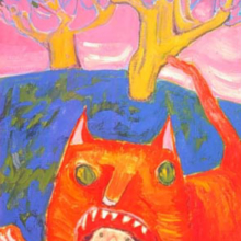 """In the Cat's Mouth Acrylic on canvas, probably by Pangorda 24""""x22"""""""